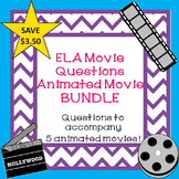 Language Arts Movie Questions ANIMATED Movie Bundle End of the Year Activities