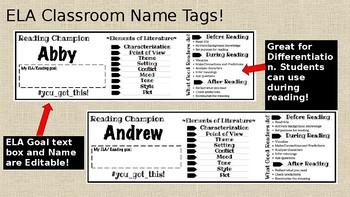 ELA Name Tags (or bookmarks)
