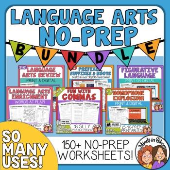 ELA No-Prep Printables Bundle, grammar and vocabulary for review, test prep etc