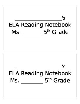 ELA Notebook Labels