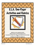 ELA One Pager Activities and Rubrics
