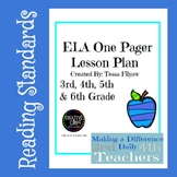 ELA One Pager Lesson Plan