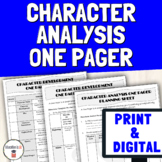 Character Analysis Worksheets - One Pager Activity for Character Analysis