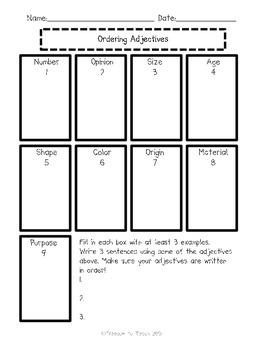 ELA Ordering Adjectives *5 Days* Teach, Apply, & Assess