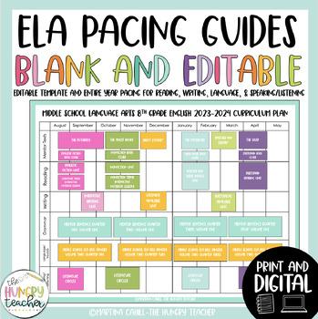 ELA Pacing Guide Editable for 2017-2018 School Year
