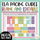 ELA Pacing Guide Editable Digital for Middle School 7th and 8th Grade Year