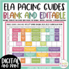ELA Pacing Guide Editable for 2016-2017 School Year