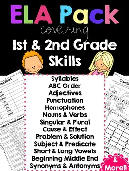 ELA Pack of Printable for First & Second Graders