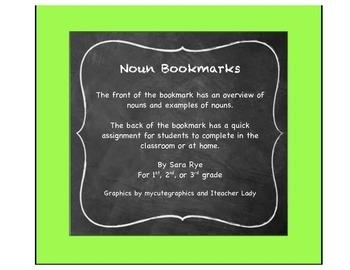 ELA Grammar Parts of Speech, Noun Bookmarks