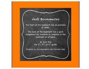 ELA Grammar Parts of Speech, Verb Bookmarks