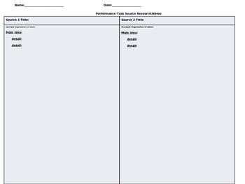 ELA Performance Task Source Notes Organizer