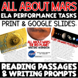 ELA Performance Task Writing Prompts All About Mars - Dist