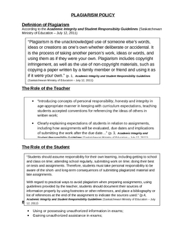 ELA Plagiarism Policy with How to Cite Reference Sheet