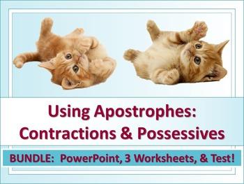 ELA Possessive Nouns & Contractions Apostrophes PPT, Worksheets x3, Test Bundle