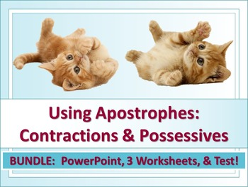 ELA Possessive Nouns & Contractions Apostrophes PPT, Works