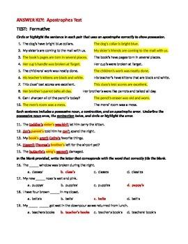ELA Possessive Nouns & Contractions Apostrophes Test (Formative Assess)