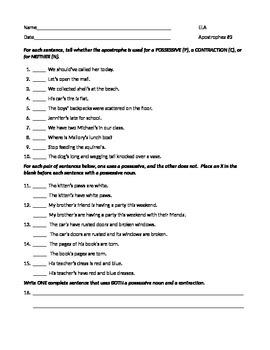 ELA Possessive Nouns & Contractions Apostrophes Worksheet #3