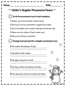 ELA Practice - Winter Singular Possessive Nouns CCSS Printable