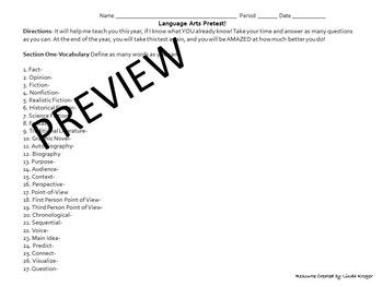 ELA Pre and Posttests! 100 Questions