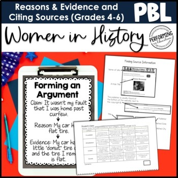 ELA Project Based Learning: Women in History - Supporting opinions using reasons