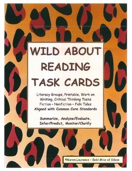 CCSS ELA READING TASK CARDS  Summarize Analyze Evaluate In