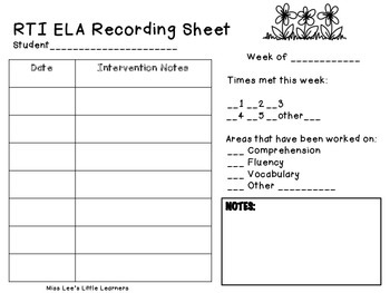ELA RTI Recording Sheet