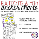 45 ELA Reading and Math ANCHOR CHARTS with STUDENT pages - Color & B&W Versions