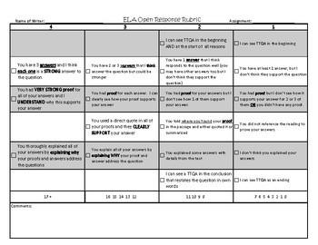 ELA Reading Comprehension - Open Response Rubric