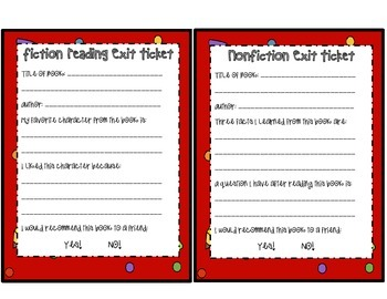 ELA Reading Exit Tickets ~ Fiction and Nonfiction