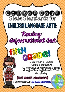 5th grade ELA Common Core Standards Posters