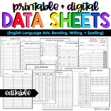 ELA, Reading, Writing + Spelling Data Forms | Editable Dat