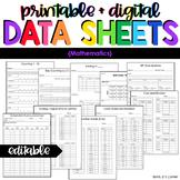 Mathematics Data Forms | Editable Data Sheets