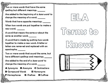 ELA Review Book Students Write Definition Contractions, Synonyms, Prefixes ETC.