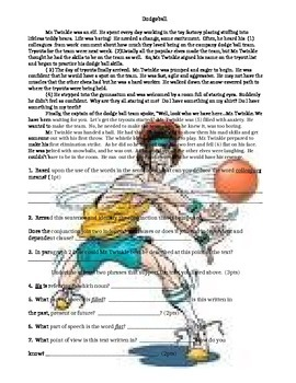 ELA Review Common Core : 1 Passage (Dodgeball)