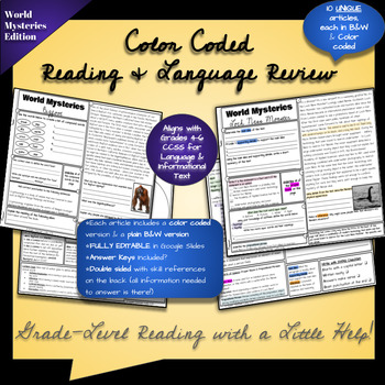 ELA Review with Reading Passages - Color Coded - World Mystery Edition!