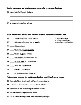 ELA SENTENCE STRUCTURE Simple, Complex, & Compound TEST / ASSESSMENT w/ Answers