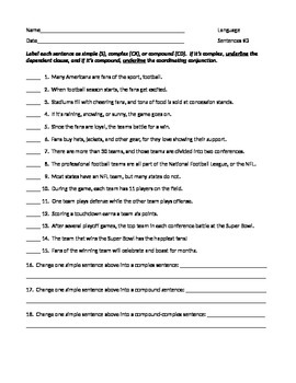 ELA SENTENCE STRUCTURE Simple, Complex, & Compound WORKSHEET #3 w ...