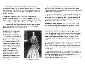 ELA & SS Cross Curricular Reading Passage: Teddy Roosevelt