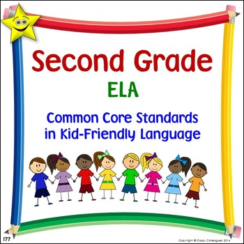 ELA Second Grade Common Core Standards Posters in Kid-Frie