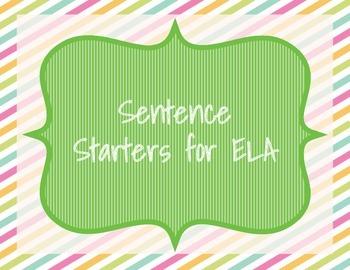 ELA Sentence Starters Set