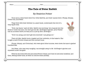 ELA Short and Extended Response Test Prep - Tale of Peter Rabbit