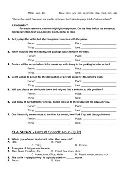 ELA Shorts - Nouns