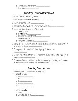 ELA Skills Checklist for 4th Grade (EDITABLE)