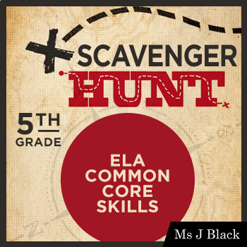 5th Grade ELA Common Core Skills Scavenger Hunt