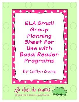 ELA Small Group Planning Sheet