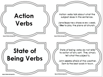 Verbs Word Cards and Activities