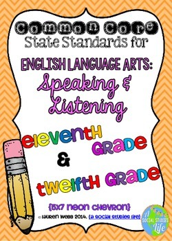 Common Core ELA Speaking and Listening Standards Posters 11th grade, 12th grade