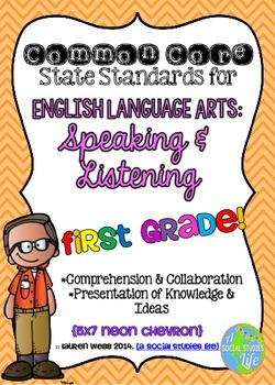 Common Core ELA Speaking and Listening Standards Posters 1st grade
