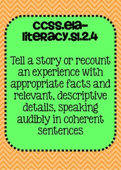 Common Core ELA Speaking and Listening Standards Posters 2nd grade