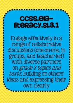 Common Core ELA Speaking and Listening Standards Posters 3rd grade